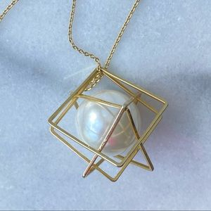 """Caged Large White """"Pearl"""" Gold Geometric Pendant"""